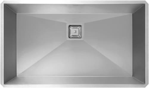 """Kraus Pax Series KHU32 - 31 1/2"""" Pax Zero Radius Handmade Undermount Single Bowl Kitchen Sink in 16 Gauge Stainless Steel"""