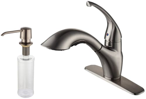 Kraus Kitchen Faucet Series KPF2210KSD30SN - Satin Nickel Faucet and Soap Dispenser