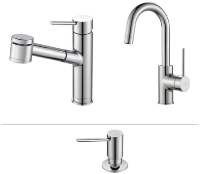 Kraus Mateo Series KPF2610260041CH - Mateo Series Kitchen Faucet Combo in Chrome - Pull-Out Kitchen Faucet, Bar/Prep Faucet, Soap Dispenser