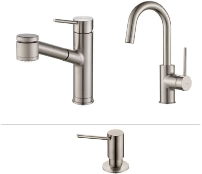 Kraus Mateo Series KPF2610260041SS - Mateo Series Kitchen Faucet Combo in Stainless Steel - Pull-Out Kitchen Faucet, Bar/Prep Faucet, Soap Dispenser