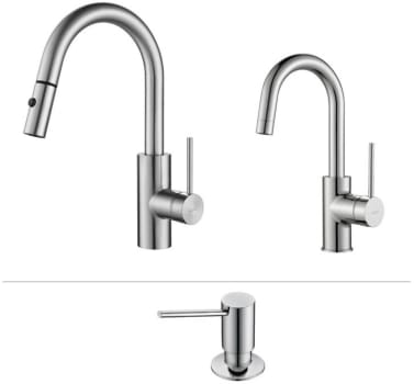 Kraus Mateo Series KPF2620260041CH - Mateo Series Kitchen Faucet Combo in Chrome - Pull-Out Kitchen Faucet, Bar/Prep Faucet, Soap Dispenser