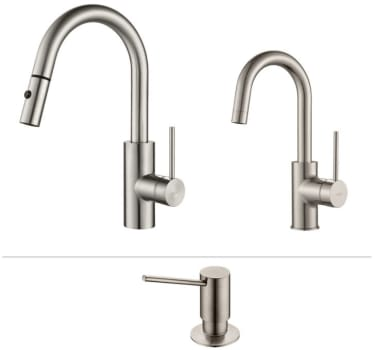 Kraus Mateo Series KPF2620260041SS - Mateo Series Kitchen Faucet Combo in Stainless Steel - Pull-Out Kitchen Faucet, Bar/Prep Faucet, Soap Dispenser