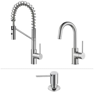 Kraus Mateo Series KPF2630260041 - Mateo Series Kitchen Faucet Combo in Chrome - Commercial-Style Pull-Down Kitchen Faucet, Bar/Prep Faucet, Soap Dispenser