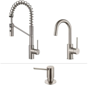 Kraus Mateo Series KPF2630260041SS - Mateo Series Kitchen Faucet Combo in Stainless Steel - Commercial-Style Pull-Down Kitchen Faucet, Bar/Prep Faucet, Soap Dispenser