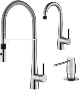 Kraus Crespo Series KPF2730270042SS - Crespo Series Kitchen Faucet Combo - Commercial-Style Pull-Down Kitchen Faucet, Bar/Prep Faucet, Soap Dispenser (faucets will arrive in Stainless Steel)