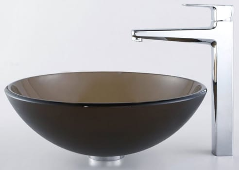 Kraus Virtus Series CGV103FR12MM15500CH - Frosted Brown Glass Sink