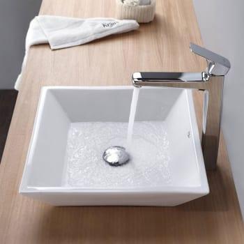 Kraus CKCV12515500CH - Square Ceramic Sink and Virtus Faucet