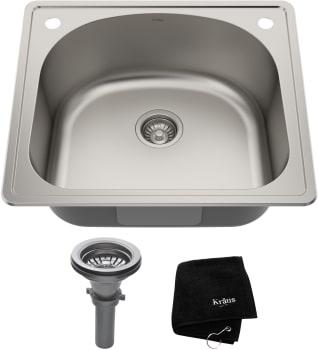 Kraus. KTM24. 25 Inch Topmount Single Bowl Stainless Steel Kitchen Sink ...