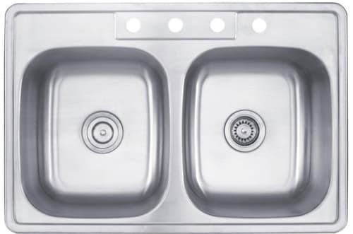 Kraus KTM33 30 Inch Topmount 50/50 Double Bowl Kitchen Sink with ...