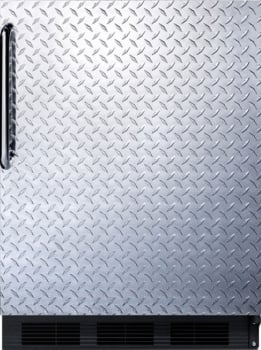 """AccuCold CT66BBIDPLADA - 24"""" Built-in ADA-Compliant Compact Refrigerator with Diamond Plate Door and Towel Bar Handle"""