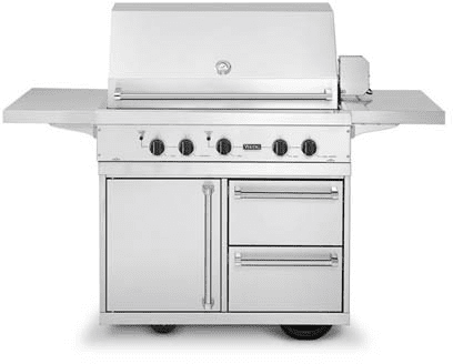 Viking Ultra Premium T Series Vgiq4103rt1l Featured View With Optional Grill Cart