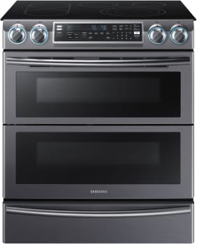 "Samsung NE58K9850W - 30"" Flex Duo Slide-In Electric Range with Dual Door and Blue LED Control Knobs"