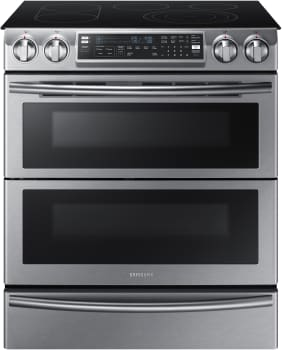 Samsung NE58K9850WS - 30 Inch Flex Duo Slide-In Electric Range with Dual Door and Blue LED Control Knobs