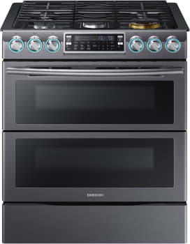 Samsung NX58K9850 - Black Stainless Steel 30-Inch Dual Oven Slide-in Gas Range with FlexDuo Dual Door and Blue LED Knobs