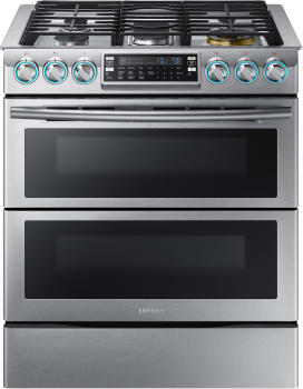 Samsung NX58K9850SS - Stainless Steel 30-Inch Dual Oven Slide-in Gas Range with FlexDuo Dual Door and Blue LED Knobs