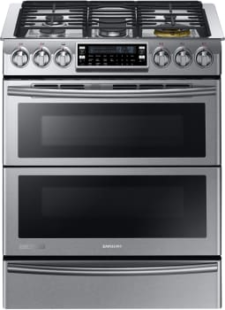 "Samsung Chef Collection NY58J9850WS - 30"" Dual-Fuel Slide-in Range with Flex Duo Door"