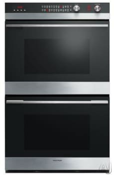 "Fisher & Paykel OB30DDEPX3 - 30"" Double Electric Wall Oven with AeroTech True Convection Cooking (Black Glass Finish)"