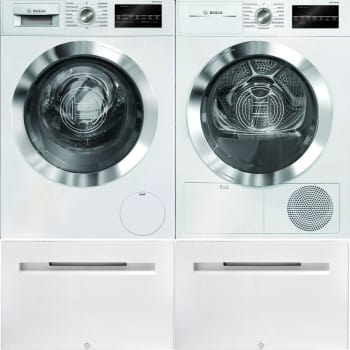Bosch Bowadreuc4021 Side By Side On Pedestals Washer Dryer Set