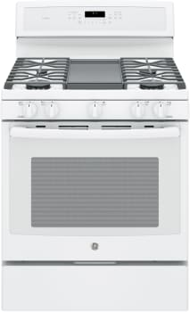 "GE Profile PGB911DEJWW - 30"" Freestanding Gas Range with Integrated Grill/Griddle"