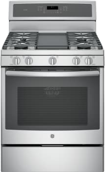 "GE Profile PGB911 - 30"" Freestanding Gas Range with Integrated Grill/Griddle (Stainless Steel, with Stainless Steel Cooktop)"