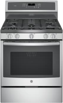 "GE Profile PGB930SEJSS - 30"" Freestanding Gas Range with 5 Sealed burners, Continuous Grates, 5.6 cu. ft. Convection Oven, Self Clean Mode with Steam Option, Reversible Integrated Griddle/Grill and Storage Drawer"
