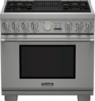 "Thermador Pro Grand Professional Series PRD364NLGU - 36"" Dual Fuel Range with 4 Star Burners and Indoor Electric Grill"