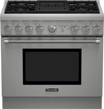 "Thermador Pro Harmony Professional Series PRD364NLHU - 36"" Dual Fuel Range with 4 Star Burners and Indoor Electric Grill"