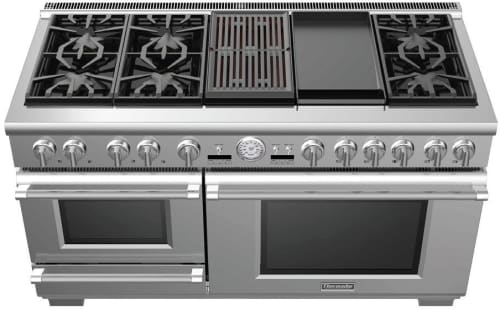 "Thermador Pro Grand Steam PRD606RSG - 60"" Pro Grand Steam Dual Fuel Range with 6 Star Burners, 12 Inch Electric Griddle, 12 Inch Electric Grill and Warming Drawer"