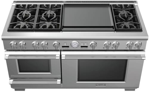 "Thermador Pro Grand Steam PRD606RESG - 60"" Pro Grand Steam Dual Fuel Range with 6 Star Burners, 24 Inch Electric Griddle and Warming Drawer"