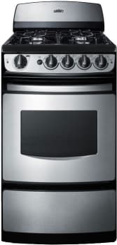"Summit PRO200SS - 20"" Gas Range with 4 Open Burners and 2.4 cu. ft. 2-Rack Oven"