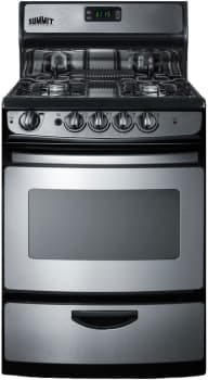 "Summit PRO246SS - 24"" Freestanding Gas Range with 4 Open Burners, 3.0 cu. ft. Oven and Broiler Drawer"