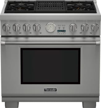 "Thermador Pro Grand Professional Series PRG364NLG - 36"" Pro Grand Gas Range with 4 Star Burners and Indoor Electric Grill"