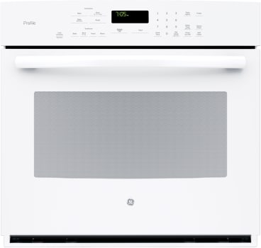 "GE Profile PT7050DFWW - 30"" True European Convection Wall Oven in White"