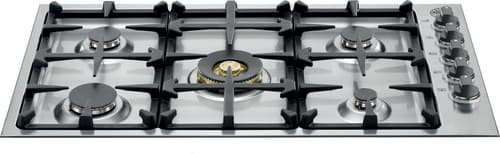 "Bertazzoni QB36M500XLP - 36"" Gas Cooktop with 5 Sealed Brass Burners"
