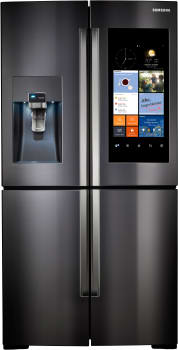 "Samsung RF28K9580SG - 36"" 4-Door FlexZone Black Stainless Steel Refrigerator with Family Hub WiFi-Enabled LCD Touchscreen"