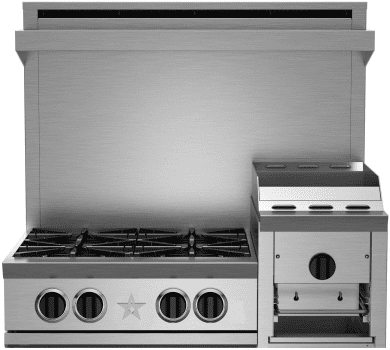 "BlueStar Heritage Classic Series RGTNB364GHCV2 - 36"" Gas Rangetop with 4 Open Burners and 12"" Griddle/Broiler"