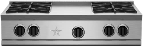 "BlueStar RGTNB Series RGTNB366BV2 - 36"" BlueStar Rangetop with 6 Open Burners (shown is griddle mode with 4 burners)"