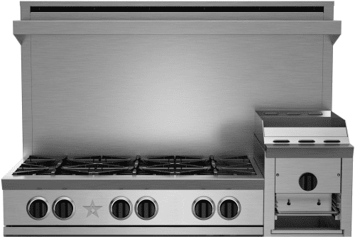 "BlueStar Heritage Classic Series RGTNB486GHCV2 - 48"" Gas Rangetop with 6 Open Burners and 12"" Griddle/Broiler"