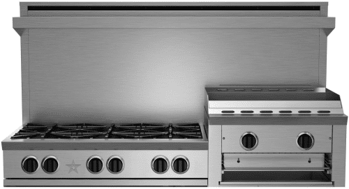 "BlueStar Heritage Classic Series RGTNB606GHCV2 - 60"" Gas Rangetop with 6 Open Burners and 24"" Griddle/Broiler"