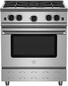 "BlueStar RNB Series RNB304BV2 - 30"" Freestanding Gas Range with 4 Open Burners and 4.5 cu. ft. Convection Oven"