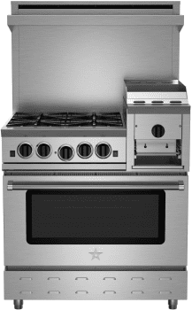"BlueStar Heritage Classic Series RNB364GHCV2 - 36"" Freestanding Gas Cooktop with 4 Open Burners, Convection Oven and 12"" Griddle/Broiler"