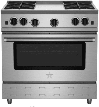 "BlueStar RNB Series RNB364CBV2 - 36"" RNB Gas Range with Center Charbroiler Grill (shown is griddle model)"