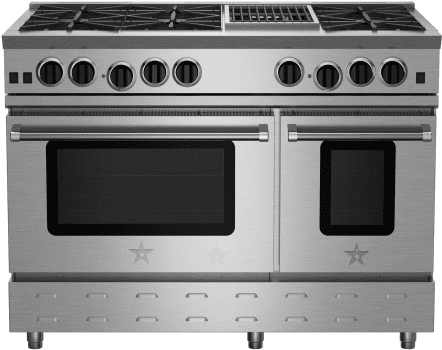 """BlueStar RNB Series RNB486CBV2 - 48"""" Freestanding Gas Range with 6 Open Burners and 12"""" Charbroiler Grill"""