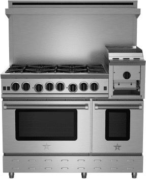 """BlueStar Heritage Classic Series RNB486GHCV2 - 48"""" Freestanding Gas Cooktop with 6 Open Burners, 2 Convection Ovens and 12"""" Griddle/Broiler"""