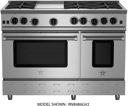"BlueStar RNB Series RNB484GV2 - 48"" Freestanding Gas Range with 4 Open Burners and 24"" Griddle"