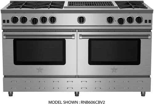 "BlueStar RNB Series RNB606GCBV2 - 60"" Freestanding Gas Range with 6 Open Burners, 12"" Griddle and 12"" Charbroil Grill"