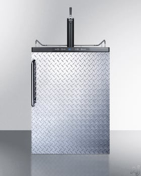 Summit SBC635MBIDPL - Diamond Plate Beer Dispenser with Towel Bar Handle