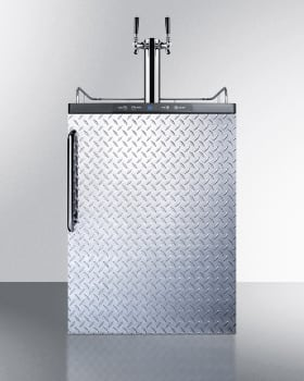 Summit SBC635MDPLTWIN - Diamond Plate Beer Dispenser with Towel Bar Handle