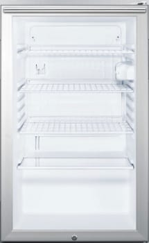 "Summit SCR450LBI7HH - 20"" Commercial Compact Glass Door Refrigerator with Slim Horizontal Professional Handle"