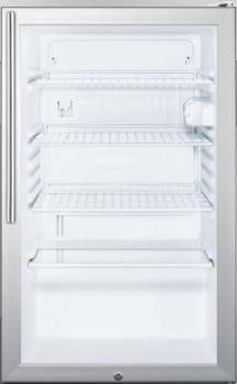 "Summit SCR450LBI7HV - 20"" Commercial Compact Glass Door Refrigerator with Slim Vertical Professional Handle"